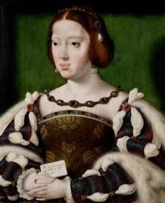 Eleanor de Austria, numită și Leonor de Castilia sau Eleanor de Hamburg (n. 15 noiembrie 1498 – d. 25 februarie 1558), infantă a Spaniei, apoi regină a Portugaliei (1518-1521), regină a Franței (1530-1547) și ducesă de Touraine (1547-1558) - foto: ro.wikipedia.org