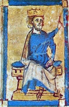 """Eric al V-lea """"Klipping"""" (n. 1249 - † 22 noiembrie 1286), rege al Danemarcei (1259-1286), fiul lui Christopher I - foto (Eric al V-lea al Danemarcei, miniatură din 1282): ro.wikipedia.org"""