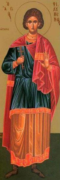 Sfântul Mucenic Filumen († 274) - Era originar din Licaonia (din provincia Capadocia, Asia Mică). A pătimit pentru Mântuitorul Hristos în timpul împăratului Aurelian (270-275). Pomenirea sa de catre Biserica Ortodoxa se face la data de 29 noiembrie  foto: doxologia.ro