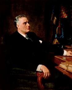 Franklin Delano Roosevelt (n. 30 ianuarie 1882 - d. 12 aprilie 1945) a fost cel de-al treizeci și doilea președinte al Statelor Unite ale Americii (1933 - 1945). S-a remarcat ca fiind una dintre principalele figuri politice secolului XX-lea pe plan național cât și internațional, care a contribuit esențial la depășirea crizei economice mondiale și la înfrângerea Germaniei naziste în perioada celui de-Al Doilea Război Mondial. De asemenea, este singurul președinte din istoria Statelor Unite care a fost instituit în funcție pentru patru mandate consecutiv - foto: ro.wikipedia.org