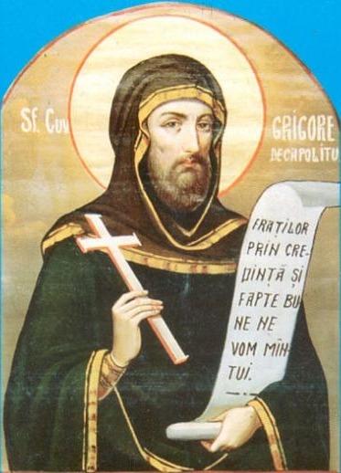 Sfântul Cuvios și de Dumnezeu purtătorul Părintele nostru Grigorie Decapolitul s-a născut la sfârșitul secolului VIII, în jurul anului 790. A dus o viață monahală exemplară și a rămas renumit pentru dârzenia cu care a apărat cultul icoanelor. A murit într-o mănăstire din Constantinopol, în ziua de 20 noiembrie 842. Cinstitele sale moaște, după mai multe veacuri de mutări datorate vitregiei vremurilor, au fost aduse la Mănăstirea Bistrița din județul Vâlcea, unde se află și în prezent. În anul 1950 Sfântul Sinod a hotărât generalizarea cultului său în toată Biserica Ortodoxă Română, prăznuirea sa fiind pe 20 noiembrie - foto: ro.orthodoxwiki.org