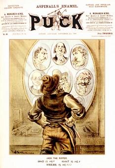 """""""Jack Spintecătorul"""" este un pseudonim acordat unui criminal în serie anonim (sau criminali anonimi) activ în jurul regiunii Whitechapel și în districtele adiacente orașului Londra, Anglia, în toamna anului 1888. Numele este preluat dintr-o scrisoare trimisă Agenției Centrale de Știri din Londra de către o persoană care pretindea că este ucigașul - foto (Coperta revistei Puck din 21 septembrie 1889 ce conţine un articol despre """"Jack Spintecătorul""""): ro.wikipedia.org"""