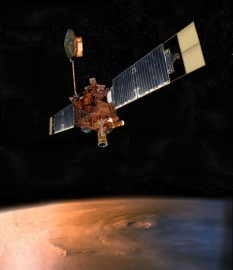 Mars Global Surveyor (MGS) was a US robotic spacecraft developed by NASA's Jet Propulsion Laboratory and launched November 1996 foto (Artist's conception of Mars Global Surveyor): mars.nasa.gov