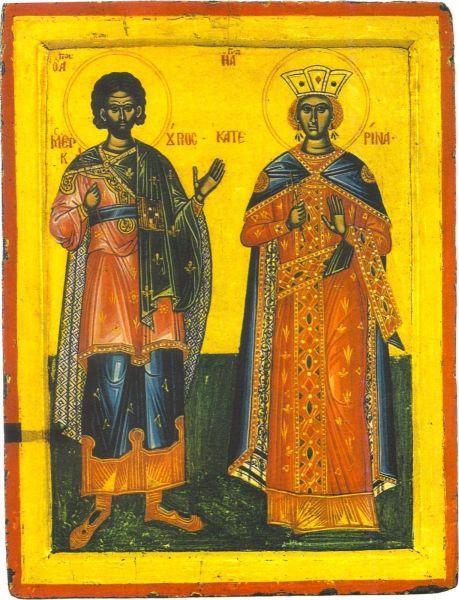 Sfântul Mare Mucenic Mercurie și Sfânta Mare Muceniță Ecaterina. Prăznuirea lor de catre Biserica Ortodoxă se face la data de 25 noiembrie - foto: doxologia.ro