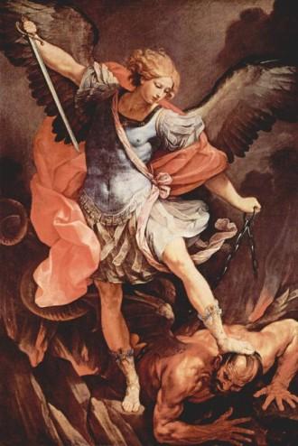 """Sfântul Arhanghel Mihail este denumit în cântările Bisericii Ortodoxe """"Mare Voievod"""" sau """"Arhistrateg al puterilor cereşti"""", fiind considerat căpetenia cetelor îngereşti. El este înfăţişat în iconografia bisericească în chip de oştean purtând o sabie vâlvâietoare de foc, semn că el vesteşte dreptatea Lui Dumnezeu şi apără pe credincioşi. Pe 6 septembrie, Biserica face pomenirea minunii înfăptuite de Sfântul Arhanghel în oraşul Colose  foto (Arhanghelul Mihail, pictură, Santa Maria della Concezione, Roma): ro.wikipedia.org"""