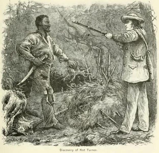 """Nathaniel """"Nat"""" Turner (n. 2 octombrie 1800, Southampton, Virginia - d. 11 noiembrie 1831, Jerusalem, azi Courtland, Virginia - executat) a fost un sclav afro-american care a condus în anul 1831 o revoltă a sclavilor negri - in imagine, Capturarea lui Nat Turner de către fermierul Benjamin Phipps - foto preluat de pe ro.wikipedia.org"""