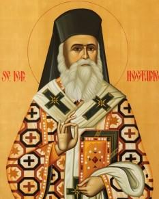 """Sfântul Ierarh Nectarie Taumaturgul de la Eghina, (n. 1 octombrie 1846 la Silivria, în Thrakia, d. 8 noiembrie 1920 la Atena) a fost episcop al Pentapolei și ctitor al mănăstirii """"Sfânta Treime"""" din insula Eghina. În 1961 Sfântul Sinod al Bisericii Constantinopolului l-a proclamat sfânt al Bisericii Ortodoxe, prăznuirea lui făcându-se în ziua de 9 noiembrie - foto: basilica.ro"""
