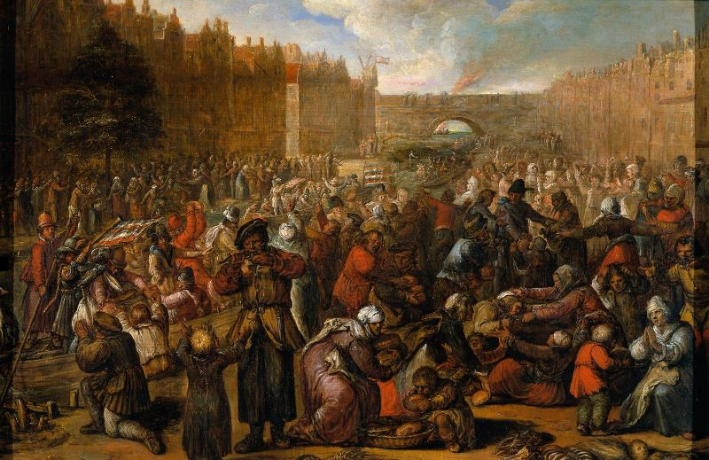 Eliberarea oraşului Leiden (1574) de Otto van Veen Polderele inundate permit accesul flotei olandeze la poziţiile infanteriei spaniole - foto: ro.wikipedia.org