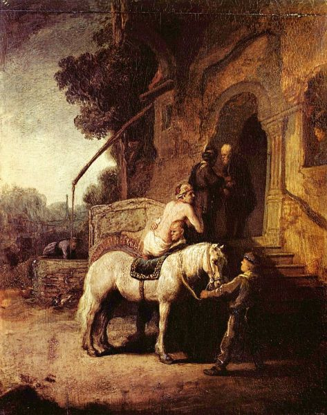 The Good Samaritan by Rembrandt (1630) shows the Good Samaritan making arrangements with the innkeeper. A later (1633) print by Rembrandt has a reversed and somewhat expanded version of the scene - foto: en.wikipedia.org