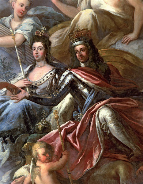 William and Mary depicted on the ceiling of the Painted Hall, Greenwich, by Sir James Thornhill - foto: en.wikipedia.org