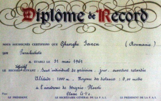 Gheorghe Iancu - Diploma eliberată de Federaţia Aeronautică Internaţională - foto: adevarul.ro