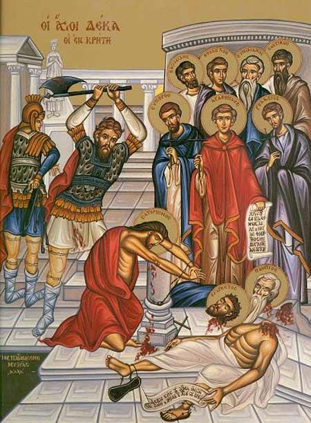 Sfinții 10 Mucenici din Creta. Prăznuirea lor în Biserica Ortodoxă se face la 23 decembrie - foto: crestinortodox.ro