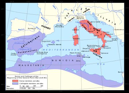 Al doilea război punic a fost conflictul dintre Roma și Cartagina ce a durat între anii 218 i.e.n. și 202 i.e.n., purtat timp de șaisprezece ani în Europa și în Africa - foto (Teritoriile deținute de Roma și Cartagina în 218, înainte de începutul războiului):  ro.wikipedia.org