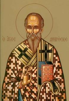Cel întru sfinți Părintele nostru Ambrozie al Milanului (340-397) a fost unul dintre marii Sfinți Părinți ai Bisericii, episcop de Mediolanum (Milano) (374-397), teolog, autor al unui mare număr de scrieri apologetice, omiletice, de teologie morală etc., apărător al dreptei credințe împotriva arianismului, sabelianismului și a ereziei lui Eunomie. A fost foarte cunoscut pentru predicile sale, care au l-au influențat foarte mult și pe Fericitul Augustin de Hippona, ducând la convertirea acestuia la creștinism. Biserica Ortodoxă îl prăznuiește în ziua de 7 decembrie - foto: doxologia.ro