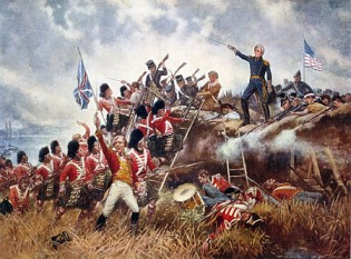 Bătălia de la New Orleans  a avut loc la 8 ianuarie 1815 la câțiva kilometri de orașul New Orleans, ea s-a dat între trupele americane conduse de generalul Jackson și cele britanice care cu toate că erau mai numeroase după al treilea asalt au fost înfrânte, conducătorul trupelor engleze Pakenham fiind rănit mortal - foto (Generalul Andrew Jackson în bătălia de la New Orleans): ro.wikipedia.org