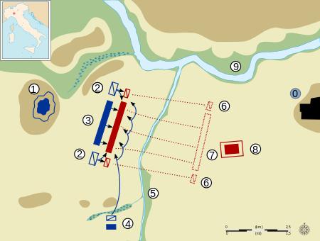 Bătălia de la Trebia (sau Trebbia), a fost una din marile bătălii ale celui de-al doilea război punic, bătălie desfășurată între forțele cartagineze conduse de Hannibal și armata Republicii Romane condusă de consulul Titus Sempronius Longus, în anul 218 î.Hr - foto:  ro.wikipedia.org