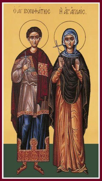 Sfântul Mucenic Bonifatie si Sfânta Aglaia. Prăznuirea lor în Biserica Ortodoxă se face la 19 decembrie  - foto: doxologia.ro