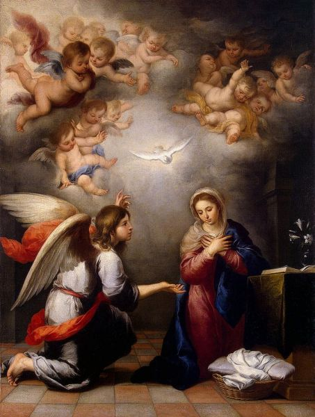 Angel Gabriel's Annunciation to Mary, by Murillo, c. 1655 - foto preluat de pe en.wikipedia.org
