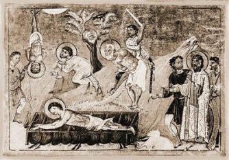 Martiriul Sfinților Mari Mucenici Eustratie, Auxentie, Evghenie, Mardarie și Orest - miniatură din Menologhionul lui Vasile al II-lea Macedoneanul - foto: doxologia.ro