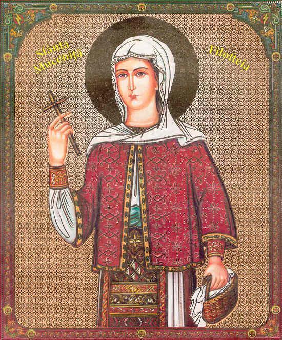 Sfânta Muceniță Filofteia este una din sfintele mucenițe cele mai cinstite de pe teritoriul României. Ea a trăit la începutul secolului al XIII-lea pe teritoriul Bulgariei de azi. Moaștele sale se găsesc în biserica mănăstirii din Curtea de Argeș, iar prăznuirea ei se face la 7 decembrie. Numele său mai poate fi întâlnit și cu grafia Filofteea sau (mai rar) Filoteea / Filoteia. Numele ei înseamnă iubitoare de Dumnezeu - foto: doxologia.ro