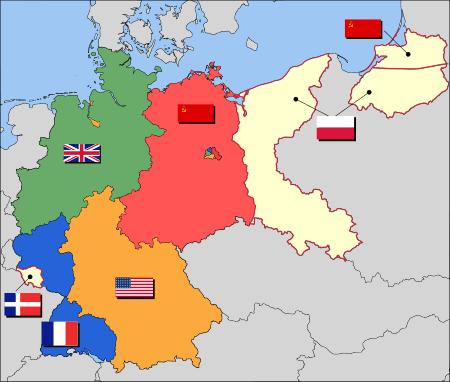Zonele aliate de ocupaţie din Germania după război - foto: ro.wikipedia.org