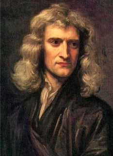 Isaac Newton (n. 4 ianuarie 1643 / S.V. 25 decembrie 1642, Woolsthorpe-by-Colsterworth, Lincolnshire, Anglia – d. 31 martie 1727 / S.V. 20 martie 1727, Kensington, Middlesex, Anglia), renumit om de știință englez, alchimist, teolog, mistic, matematician, fizician și astronom, președinte al Royal Society - foto (Sir Isaac Newton la 46 de ani, într-un portret din 1689 al pictorului Godfrey Kneller): ro.wikipedia.org