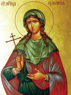 Sfânta Muceniță Iuliana din Nicomidia a trăit pe vremea împăratului roman Maximian (286-305 d.Hr.). Era de fel din cetatea Nicomidiei (în Bitinia, regiune din nord-vestul Asiei Mici). A pătimit în timpul persecuțiilor împotriva creștinilor, primind martiriul prin tăierea capului cu sabia în anul 304. Prăznuirea ei se face în Biserica Ortodoxă la 21 decembrie, iar în Biserica Romano-Catolică la 16 februarie - foto: ro.orthodoxwiki.org