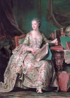 Jeanne-Antoinette Poisson, marchiză de Pompadour (n. 29 decembrie 1721, Paris - d. 15 aprilie 1764, Versailles) cunoscută ca Madame Pompadour a fost metresă a regelui Franței Ludovic al XV-lea - foto (Portret al Doamnei de Pompadour de Maurice Quentin de La Tour, 1755, pictură în ulei, Louvre, Paris): ro.wikipedia.org