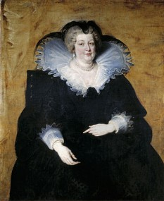 Maria de Medici (n. 26 aprilie 1575 – d. 3 iulie 1642), regină a Franței sub numele de Marie de Médicis, a doua soție a regelui Henric al IV-lea al Franței. După asasinarea soțului său în 1610, a fost regentă pentru fiul său, Ludovic al XIII-lea - foto (Portret al Mariei de Medici de Peter Paul Rubens):  ro.wikipedia.org
