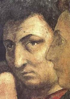 """Tommaso di Ser Giovanni di Simone Cassai numit Masaccio (*21 decembrie 1401, San Giovanni Valdarno, în apropiere de Florența - †iunie 1428, Roma) a fost un pictor italian, precursorul Renașterii în pictură - foto (Detaliu din fresca """"San Pietro in cattedra"""" aflată în Capela Brancacci din biserica Santa Maria del Carmine, Florenţa - Chipul întors spre privitor este autoportretul lui Masaccio): en.wikipedia.org"""