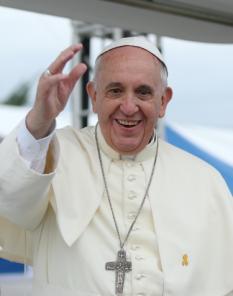 Papa Francisc, născut Jorge Mario Bergoglio, (n. 17 decembrie 1936, Buenos Aires) este al 266-lea episcop al Romei și papă al Bisericii Catolice, ales la 13 martie 2013 de către conclavul cardinalilor. Din 1998 a fost arhiepiscop de Buenos Aires. Este primul papă neeuropean după papa Grigore al III-lea (731-741).[1][2] De asemenea, este primul papă originar de pe continentul american și primul papă iezuit - in imagine, Papa Francisc în 2014 - foto: ro.wikipedia.org