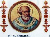 Papa Sergiu I (* ? la Palermo; + 8 septembrie 701) a fost un papă al Romei. A ajuns în această funcție probabil pe data de 15 decembrie 687 - foto: en.wikipedia.org