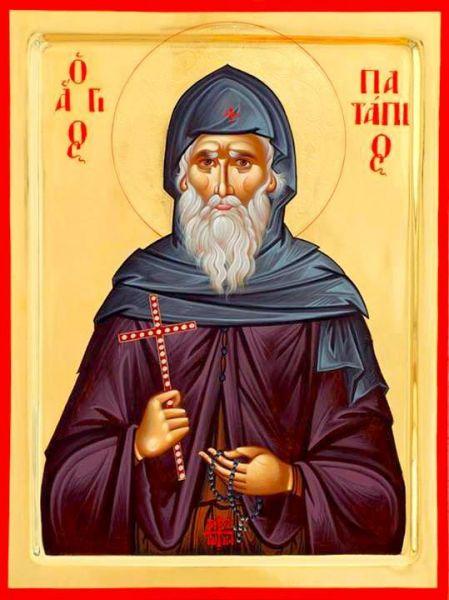 Cuviosul şi de Dumnezeu purtătorul Patapie din Teba este un părinte al pustiei care a trăit în deşertul kemetian în Egipt în prima jumătate a secolului al V-lea. Moaștele sale sunt neputrezite până astăzi și pot fi închinate la mănăstirea sfântului din Loutraki (Grecia). Prăznuirea sa în Biserica Ortodoxă se face la data de 8 decembrie - foto: ro.orthodoxwiki.org