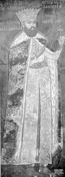 Radu Șerban (? – 23 martie 1620) a fost domnul Țării Românești în octombrie 1601, între iulie 1602 și decembrie 1610 și între mai și septembrie în anul 1611[1]. Fiind un presupus descendent al lui Neagoe Basarab, a ajuns mare dregător în timpul domniei lui Mihai Viteazul. După urcarea pe tron, a fost un continuator al politicii de independență a Țării Românești, dusă de Mihai Viteazul. Având de luptat cu mari greutăți înăuntrul și în afara țării, a reușit să le facă față cu succes în cei aproape zece ani de domnie. În tot acest timp, s-a remarcat printr-o deosebită abilitate politică și pricepere militară, dovedindu-se a fi unul dintre voievozii de seamă ai țărilor române - (frescă de la Mănăstirea Hurezi) - foto preluat de pe ro.wikipedia.org