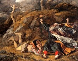 """Regele Lear este o tragedie scrisă de William Shakespeare care reprezintă o încununare a analizei umanisto-psihologice prezentă în mai toate lucrările marelui dramaturg englez - in imagine, """"Regele Lear și Nebunul în furtună"""" de William Dyce (1806–1864) - foto: ro.wikipedia.org"""