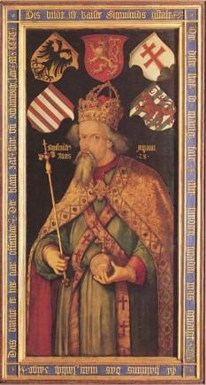 Sigismund de Luxemburg (în maghiară Luxemburgi Zsigmond, în cehă Zikmund Lucemburský) (n. 14 februarie 1368, Nürnberg - d. 9 decembrie 1437, Znaim, Moravia, azi Republica Cehă), principe elector de Brandenburg din 1378 până în 1388 și din 1411 până în 1415, rege al Ungariei și Croației din 1387, rege al Boemiei din 1419, rege al Germaniei din 1411 și împărat romano-german din 1433 până la moartea sa în 1437 - foto (Sigismund, la aproximativ 50 de ani, portret atribuit lui Pisanello): ro.wikipedia.org