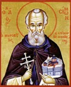 Sfantul Simon al pietrei, Izvorâtorul de mir, ctitorul Mănăstirii Simonopetra (Simonos-Petras) din Muntele Athos (sec XIII-lea). Prăznuirea lui în Biserica Ortodoxă se face la 28 decembrie - foto: calendar-ortodox.ro