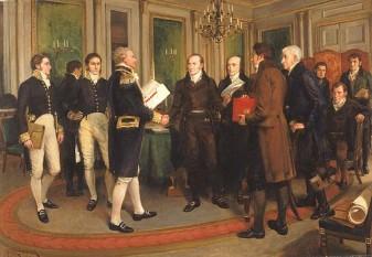 Tratatul de la Gent, semnat la 24 decembrie 1814, în Gent (în Belgia de astăzi, pe atunci aflat într-un teritoriu disputat între Primul Imperiu Francez și Regatul Unit al Țărilor de Jos), a fost tratatul de pace care a încheiat Războiul din 1812 între Statele Unite ale Americii și Regatul Unit al Marii Britanii și al Irlandei - foto (Semnarea tratatului de la Gent): ro.wikipedia.org