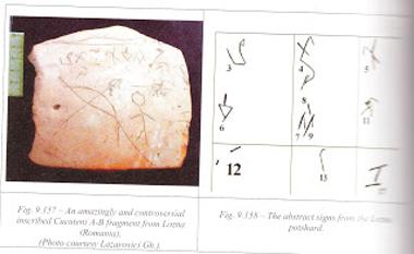 Gravură şi inscripţie pe un ciob cucutenian descoperit în punctul Turbărie, din satul Lozna, comuna Derşca, judeţul Botoşani (România), ilustraţie din lucrarea lui Marco Merlini - foto: marturiilehierofantului.blogspot.ro