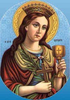 Sfânta şi prealăudata Mare Muceniţă Varvara din Heliopolis (sau Barbara) a trăit în vremea împăratului păgân Maximian (286-305, 306-311). Prăznuirea ei se face pe 4 decembrie  foto: ro.orthodoxwiki.org