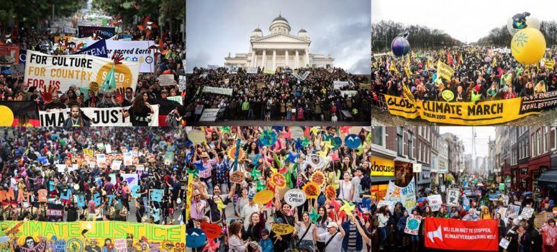 ClimateMarch 2015 (din stânga sus, în mersul acelor de ceasornic: Melbourne, Helsinki, Berlin, Amsterdam, Bogotá, Jakarta)