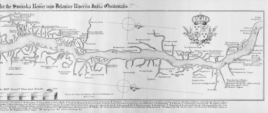 """A doua bătălie de la Trenton (sau Bătălia de pe Pârâul Assunpink) a fost o victorie a americanilor în fața armatei britanice, venită după lupte duse în orașul Trenton, New Jersey, la 2 ianuarie 1777, în timpul Războiului de Independență al SUA. In imagine, harta cursului râului Delaware din 1655 - """"Asin Pink"""" este în dreapta - foto: ro.wikipedia.org"""