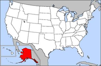 Harta Statelor Unite cu statul Alaska indicat - foto: ro.wikipedia.org