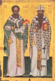 Sfinţii Ierarhi Atanasie şi Chiril, Arhiepiscopii Alexandriei. Pomenirea lor de catre Biserica Ortodoxa se face la data de 18 ianuarie - foto: basilica.ro