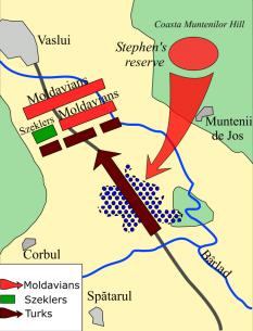 Harta desfăşurării bătăliei de la Podul Înalt - foto: ro.wikipedia.org