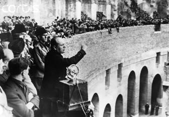 Benito Amilcare Andrea Mussolini (n. 29 iulie, 1883, Predappio lângă Forlì – d. 28 aprilie, 1945, Giulino di Mezzegra lângă Como), conducătorul fascist al Italiei între anii 1922 și 1943 foto: cersipamantromanesc.wordpress.com
