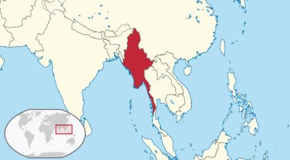 Myanmar, numită oficial Republica Uniunea Myanmar, cunoscută în limba română și ca Birmania, este a doua țară ca mărime din Asia de sud-est. Se învecinează cu Republica Populară Chineză la nord, Laos la est, Thailanda la sud-est, Bangladesh la vest și India la nord-vest, cu Marea Andaman la sud și Golful Bengal la sud-vest (cu un total de peste 2000 de kilometri de coastă). Țara a fost guvernată de o juntă militară condusă de generalul Ne Win din 1962 până în 1988, sistemul său politic rămânând până astăzi sub un strâns control al juntei militare - foto: ro.wikipedia.org