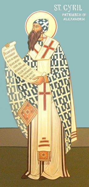 """Părintele nostru între sfinți Chiril al Alexandriei a fost Patriarh al Alexandriei pe vremea când aceasta era la apogeul influenței și puterii sale în sânul Imperiului Roman. Sfântul Chiril a fost un scriitor prolific, el fiind și protagonistul principal al controverselor hristologice din secolele al IV-lea și al V-lea. A fost figura centrală a Sinodului de la Efes din 431 care a culminat cu îndepărtarea lui Nestorie din scaunul de Arhiepiscop al Constantinopolului. Sfântul Chiril este unul din Părinții Bisericii și faima sa în lumea ortodoxă i-a adus numele de """"Pecete a tuturor Părinților"""". Este prăznuit în Biserica Ortodoxă atât în ziua de 9 iunie cât și pe data de 18 ianuarie împreună cu Sf. Atanasie al Alexandriei - foto: ro.orthodoxwiki.org"""