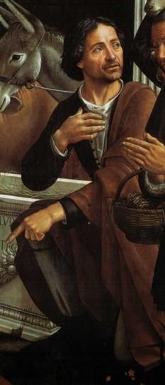 """Domenico Ghirlandaio (n. 1449, Florența – d. 11 ianuarie 1494, Florența) a fost un pictor italian renascentist, reprezentant al Școlii florentine (a aparținut celei de-a treia generații a acestei școli) - in imagine: Domenico Ghirlandaio (autoportret) (detaliu din tabloul """"Adorazione dei pastori"""") - foto: ro.wikipedia.org"""