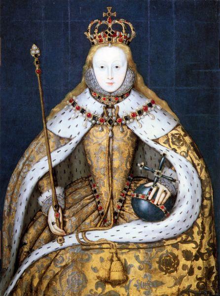 Elisabeta I (în engleză Elizabeth I) (7 septembrie 1533 – 24 martie 1603 ) a fost regină a Angliei și regină a Irlandei din 17 noiembrie 1558 până la moartea sa - in imagine, Regina Elisabeta în ziua încoronării. Portretul este o copie după originalul din 1559, care s-a pierdut - foto: ro.wikipedia.org